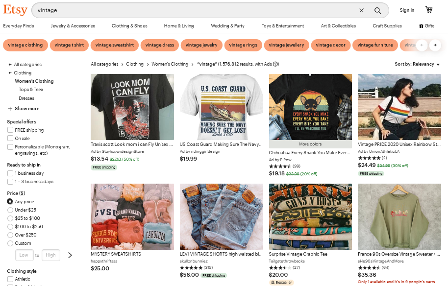 "Screenshot of the search term ""vintage"" on the Etsy website"