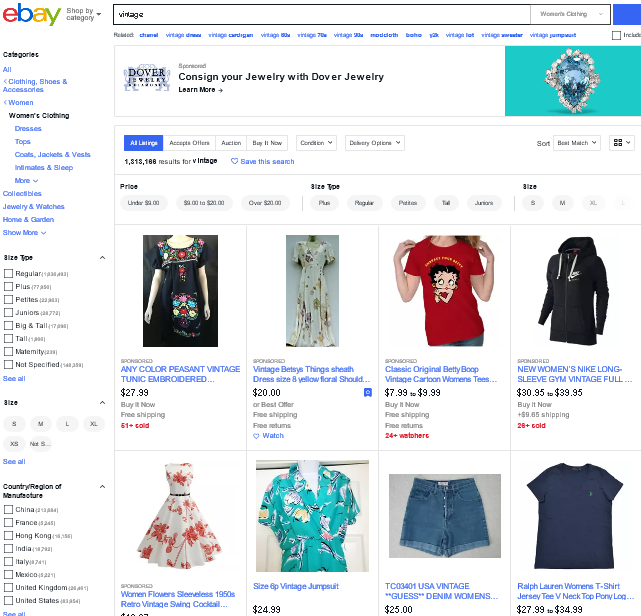 "Screenshot of the search term ""vintage"" on the eBay website"