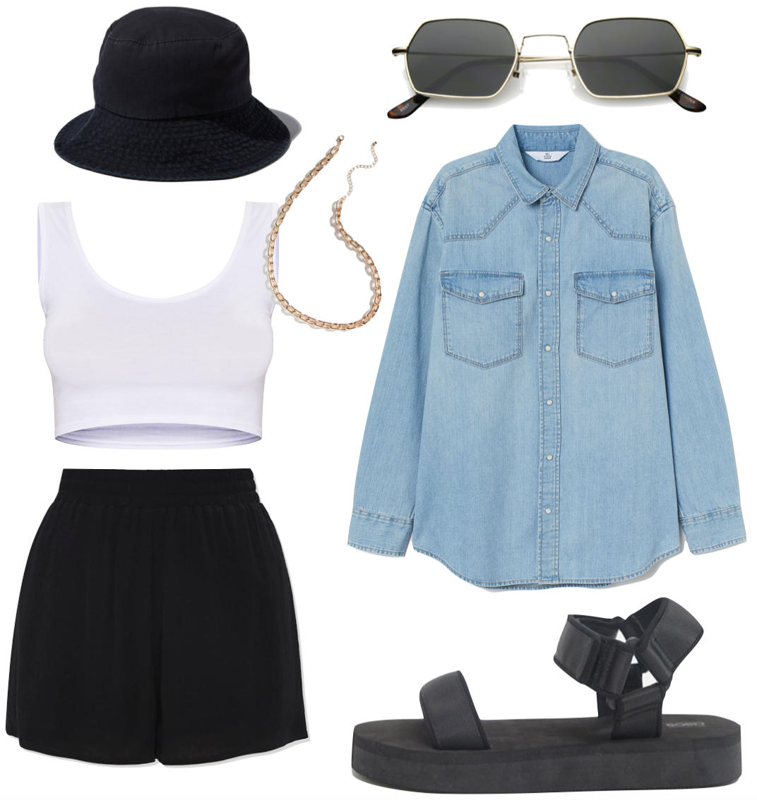 Shay Mitchell bucket hat Outfit: white cropped tank top, black high rise shorts, black bucket hat, gold chain necklace, denim shirt, hexagon sunglasses, and black sporty double strap sandals