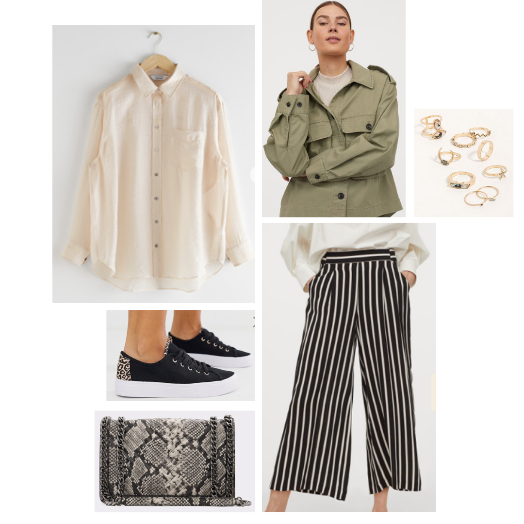 Look inspired by Skye: green military jacket, cream silky blouse, pinstripe cullottes, black sneakers