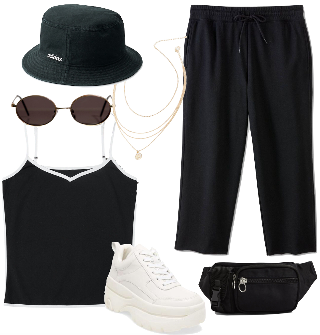 Vanessa Hudgens Outfit: cropped black sweatpants, black Adidas logo bucket hat, gold layered necklace, oval sunglasses, black and white contrast trim tank top, black belt bag and chunky white platform sneakers