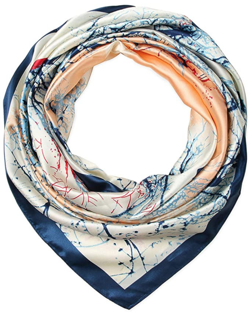 Classic style 101: Cute scarf from Amazon in blue and peach pattern