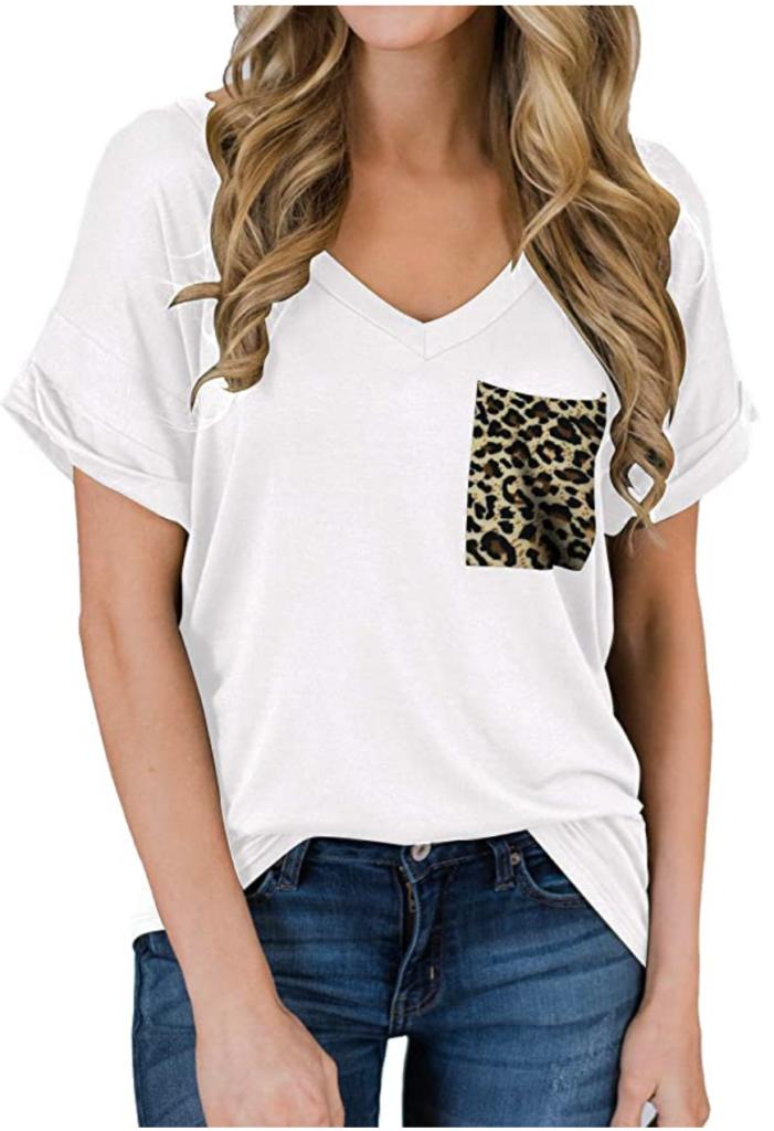 Leopard pocket v-neck shirt