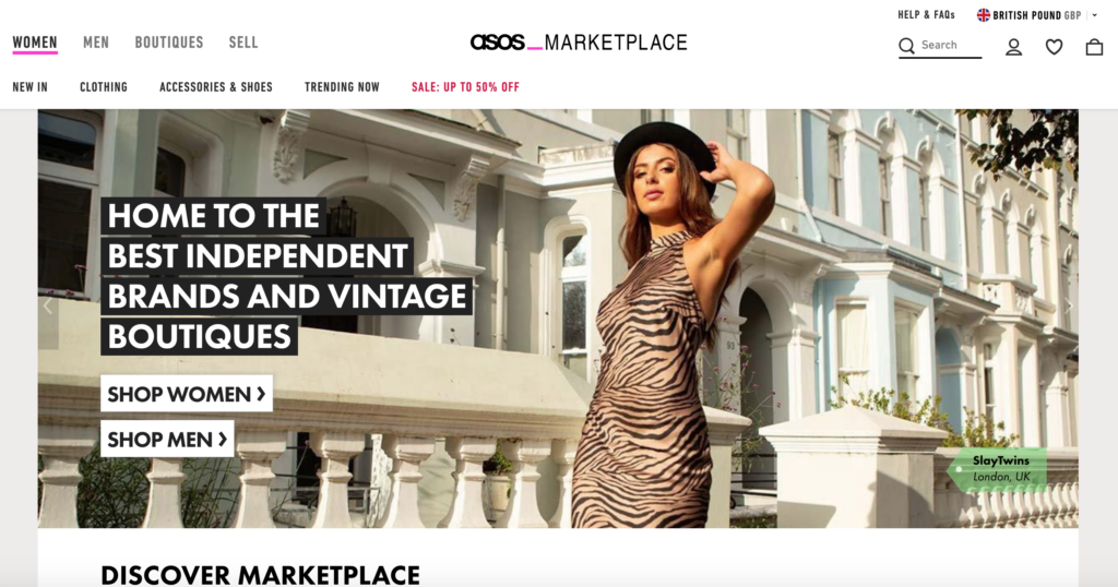 Screenshot of ASOS marketplace, one of our favorite online thrift stores