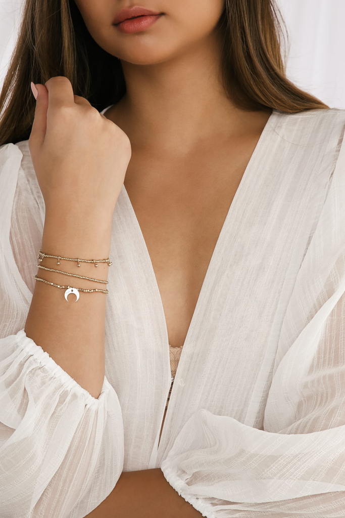 Layered bracelet set from Lulus with a half moon charm