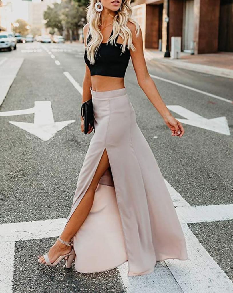 Beige chiffon maxi skirt for boho wardrobe