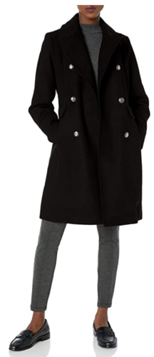 Black double breasted wool coat from Amazon