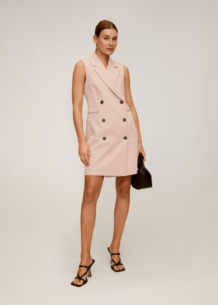 Mango blazer dress inspired by Meghan Markle's sleeveless shirt dress