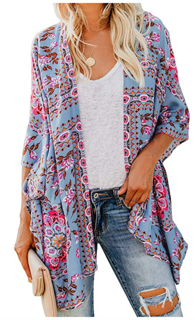 Pink and blue printed kimono style wrap/cardigan