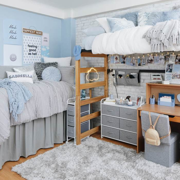 Blue and gray dorm room from Dormify