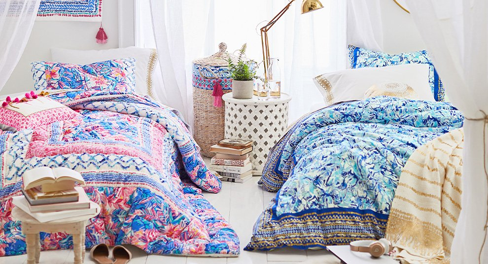 Brightly colored dorm room from Lily Pulitzer