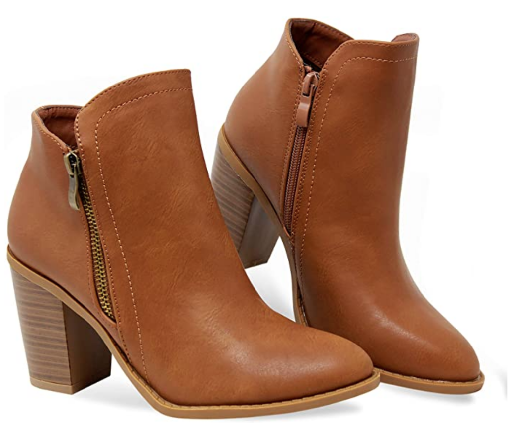 Boho style brown leather ankle booties