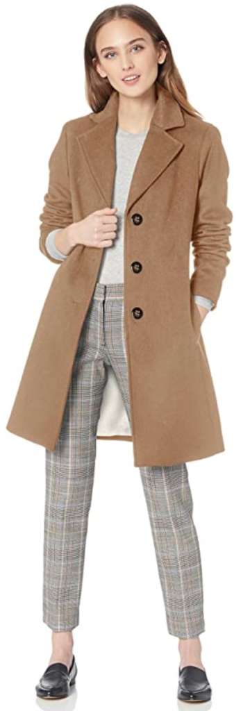 Camel wool coat with three buttons from Amazon