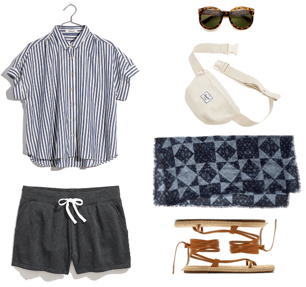 How to Wear Sweat Shorts the Fashion Girl Way | Outfit #1 with gray sweat shorts, striped button-down top, bandana, lace-up sandals, fanny pack, sunglasses