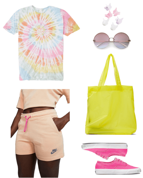 How to Wear Sweat Shorts the Fashion Girl Way | Outfit #3 with pink sweat shorts, tie-dye t-shirt, yellow bag, pink sneakers, round sunglasses, butterfly clips