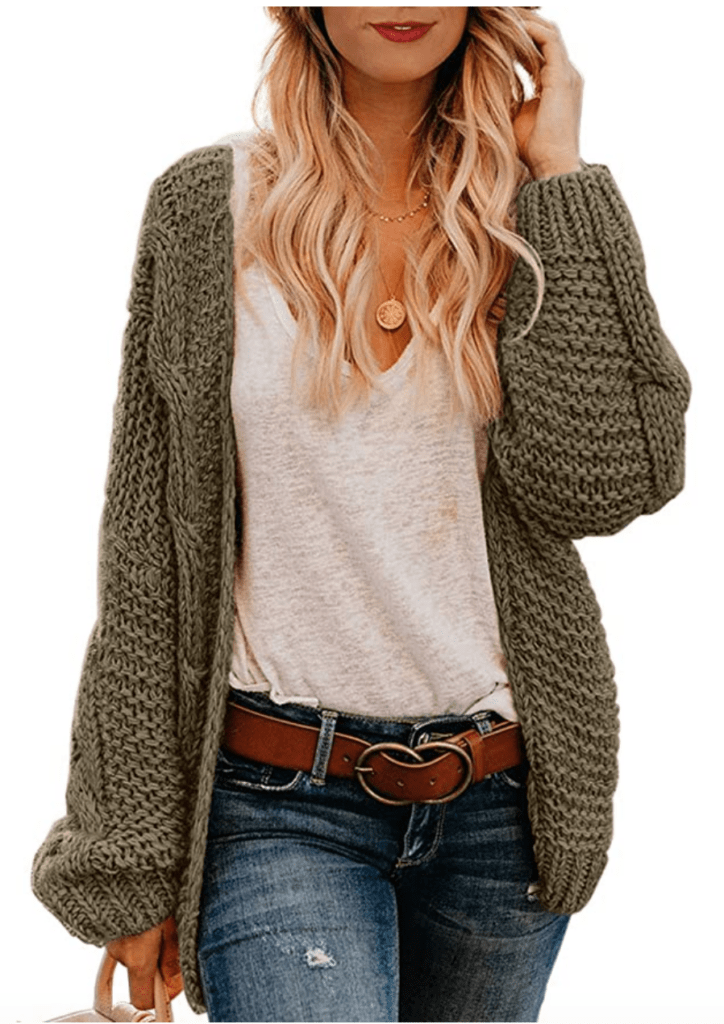 Boho style staples: Olive green chunky knit cardigan sweater
