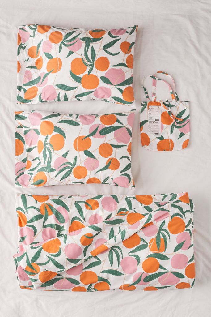 Peach duvet set in orange and green from Urban Outfitters
