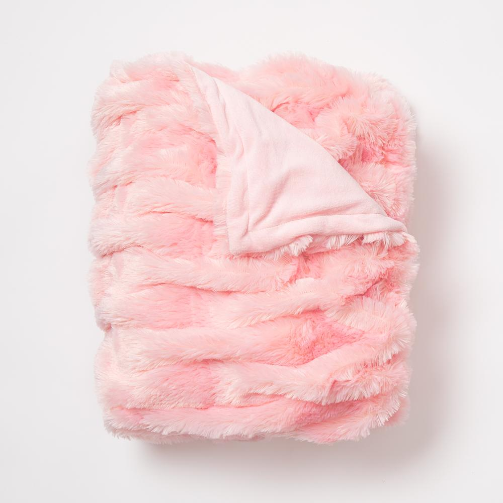 Fluffy pink faux fur throw blanket