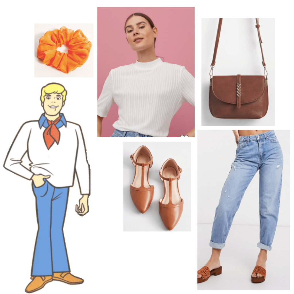 fashion outfit guide: white mock neck sweater, boyfriend light-wash denim jeans, brown flats, brown saddle bag