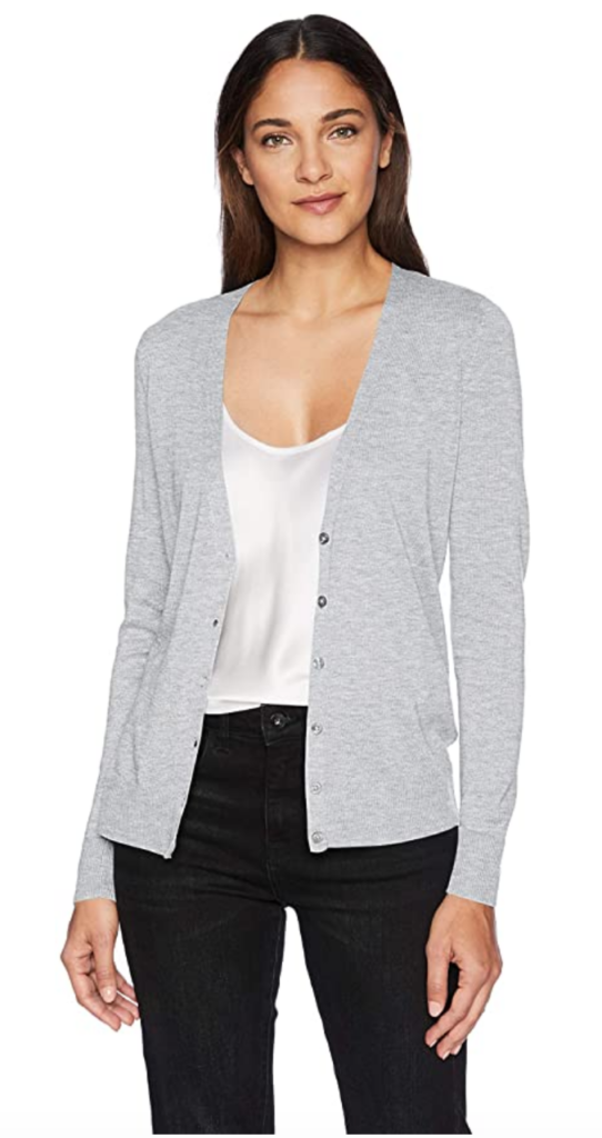 Classic style gray button front cardigan from Amazon Essentials
