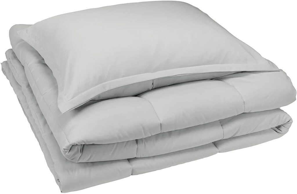 Gray comforter and pillow set in Twin XL from Amazon