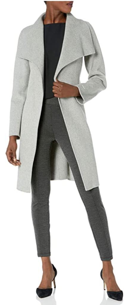 Gray wool wrap coat from Tahari