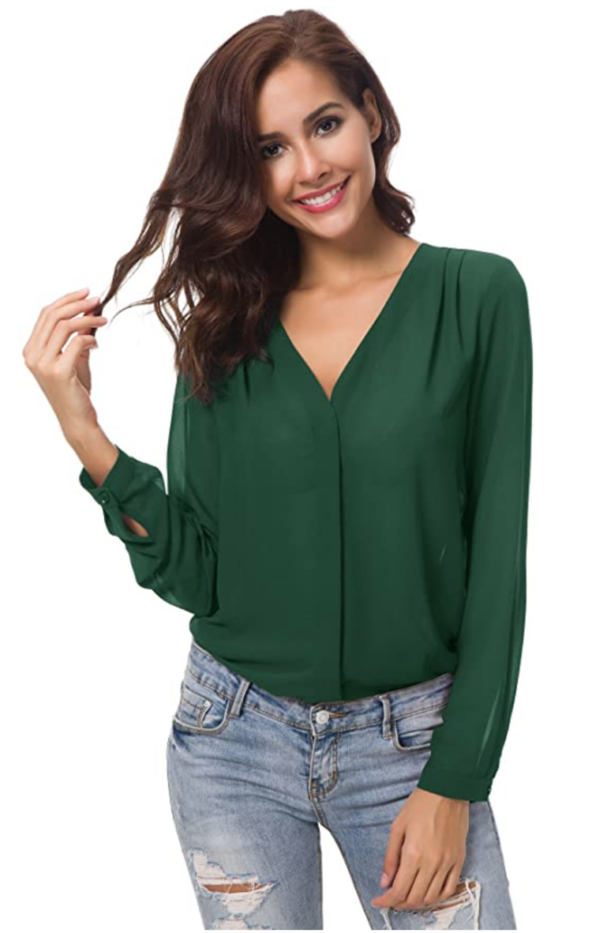 Dark green blouse inspired by Meghan, duchess of sussex