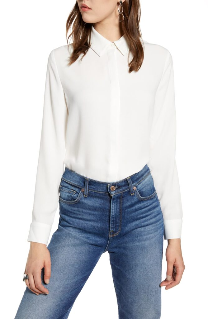Classic Halogen long sleeve white button down shirt from Nordstrom