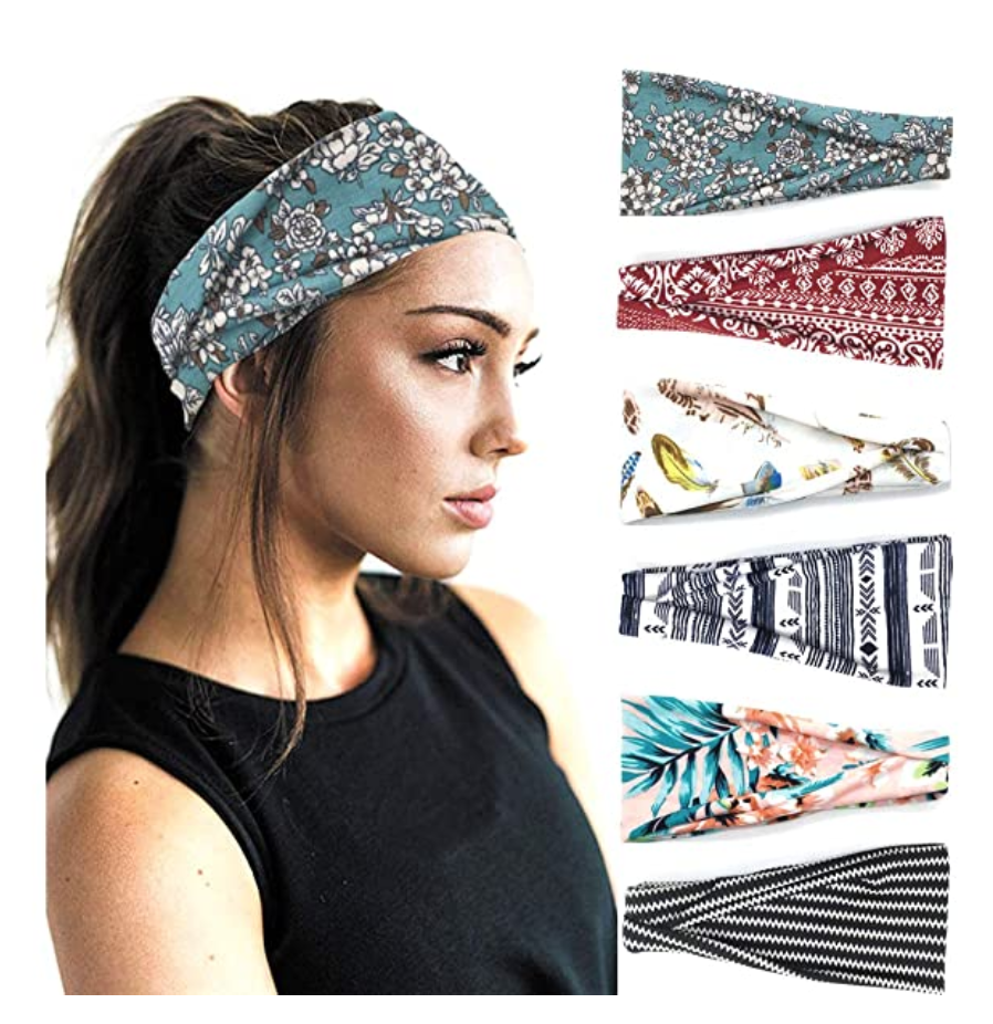 Cute patterned boho headwraps from Amazon - pack of six