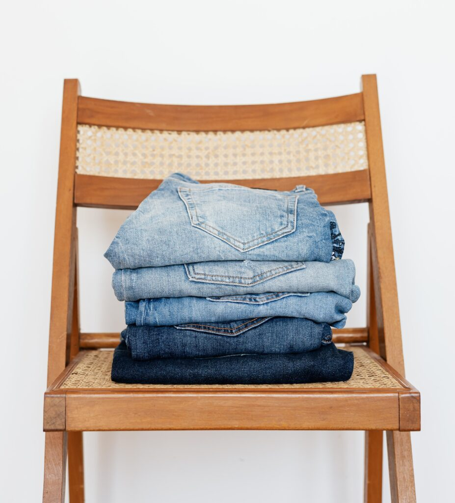 Stock photo of a stack of blue jeans