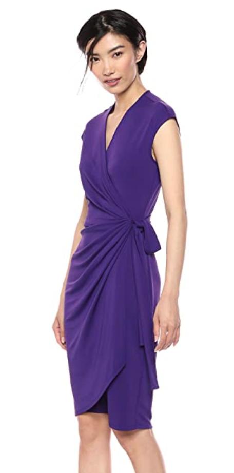 Lark & Ro purple dress inspired by Meghan Markle's purple midi dress