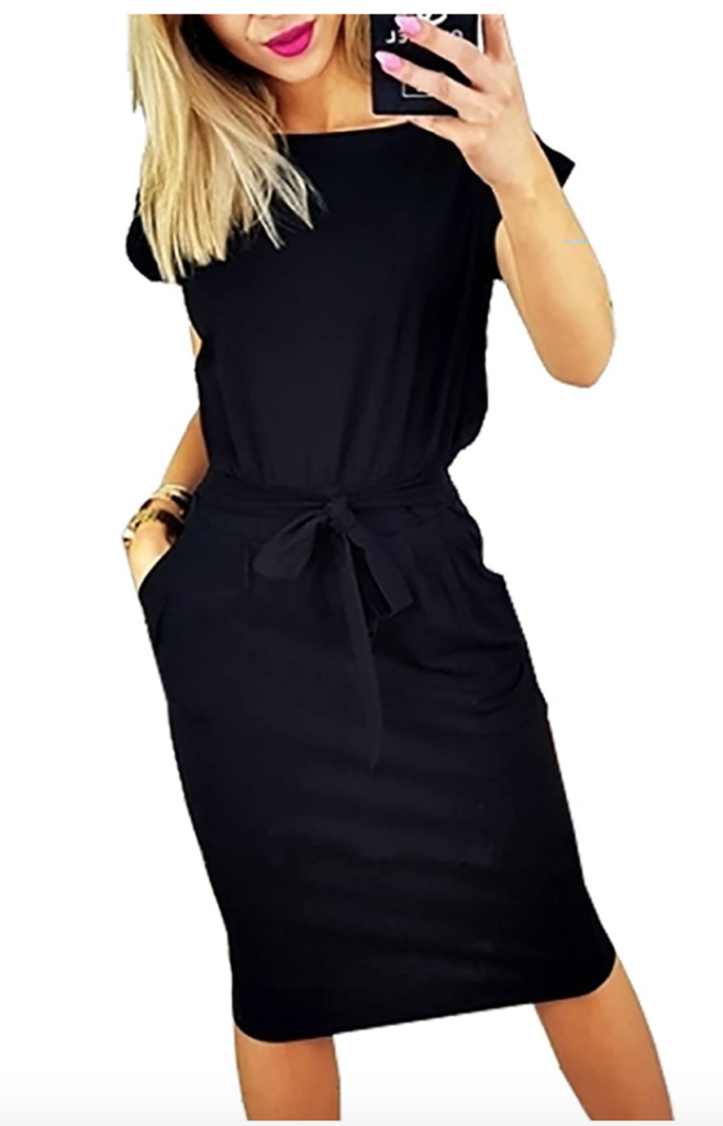 Little black dress, knee length with a cinched waist from Amazon