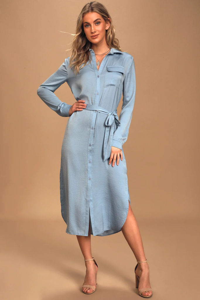 Blue shirtdress inspired by Meghan Markle's street style