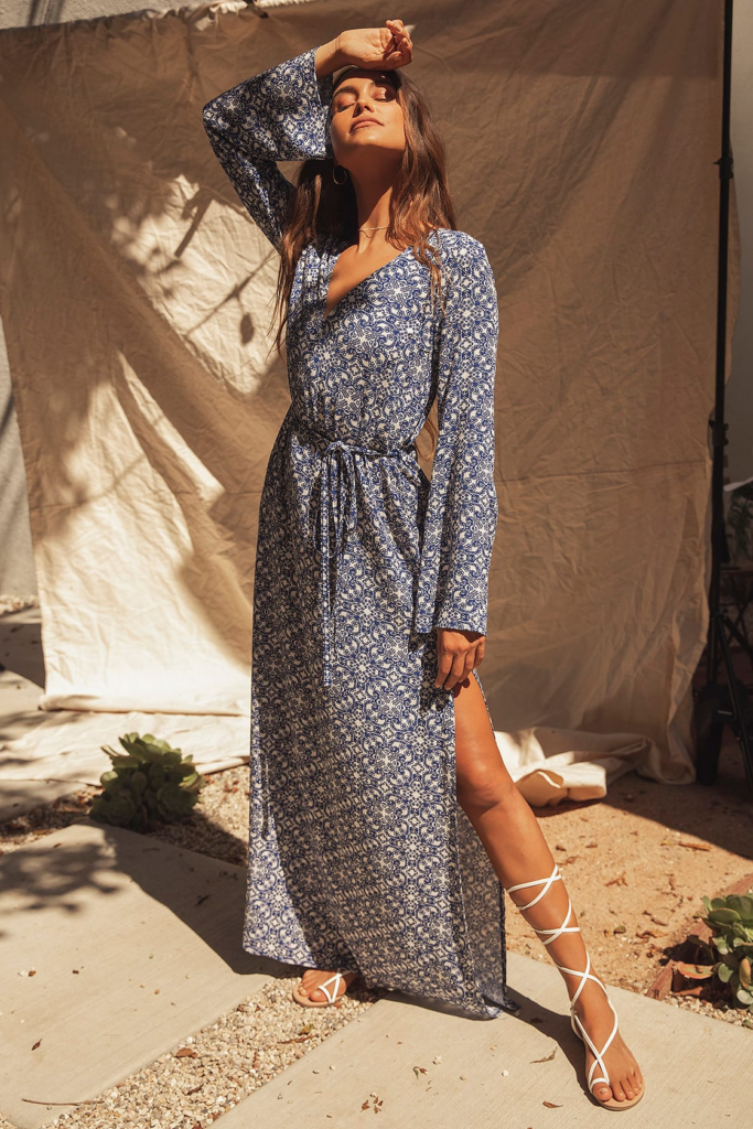 Printed maxi dress with long sleeves from Lulus