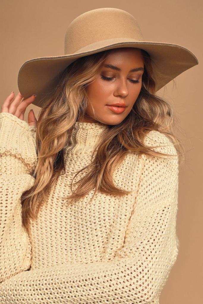 Lulus tan suede wide brim hat