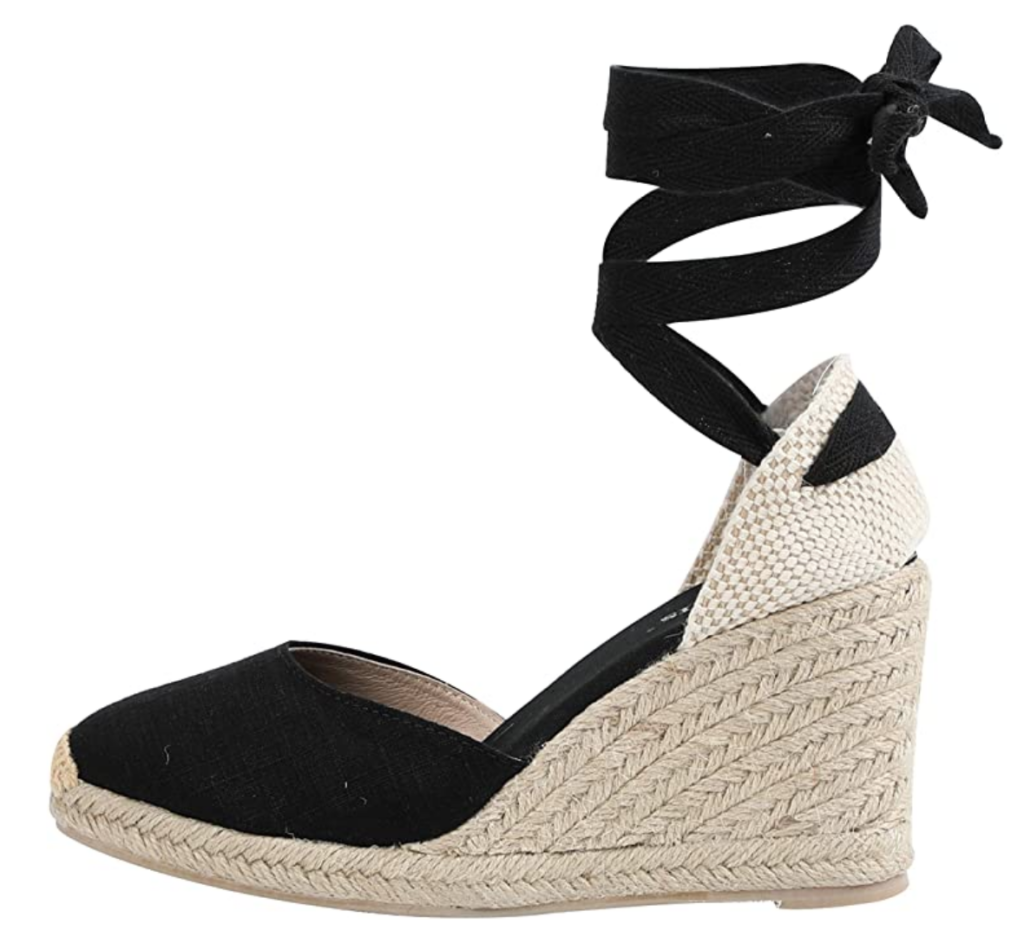 Meghan Markle inspired ankle tie wedges
