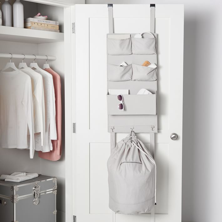 College dorm room storage - over the door organizer with laundry bag
