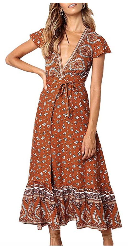 Brown printed wrap style midi dress from Amazon