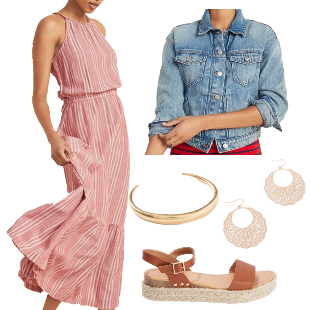 Summer outfits for 2020: Hanging out with friends either socially distanced or via video chat. Outfit with pink stripe maxi dress, jean jacket, chunky platform sandals