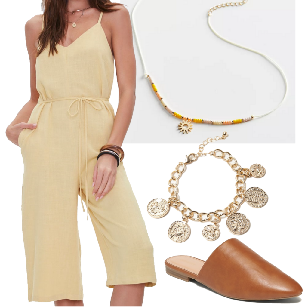 Work from home outfit with yellow knee-length jumpsuit, brown mules, gold jewelry