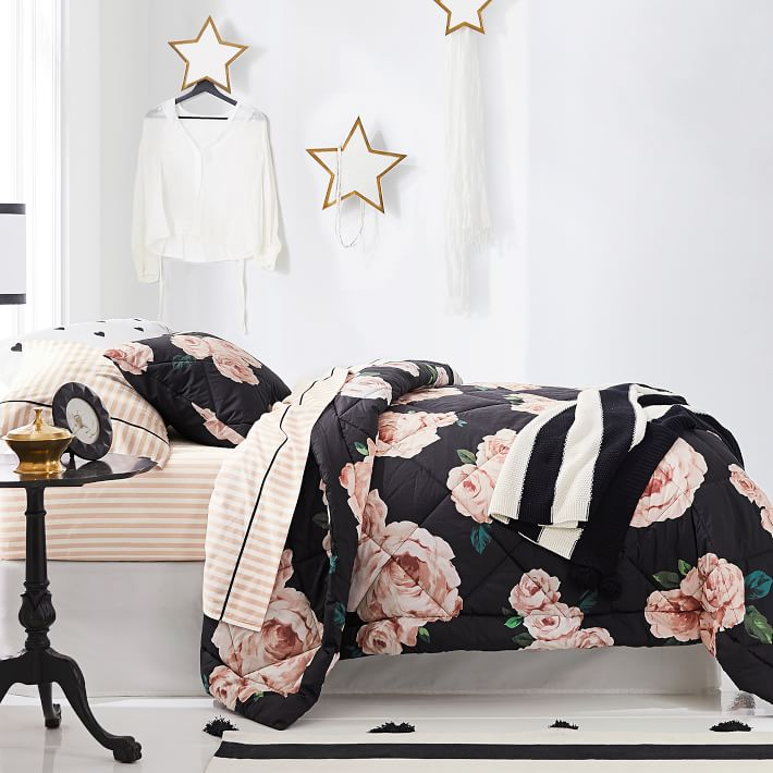 Floral rose and striped bedding set from PBTeen