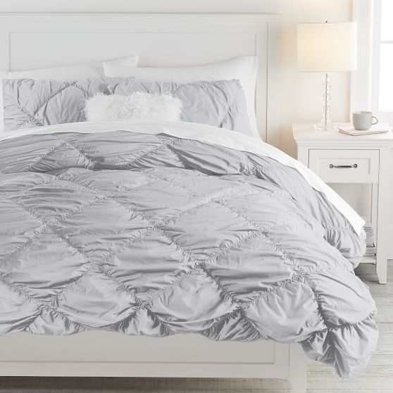 Ruched diamond duvet cover and sham
