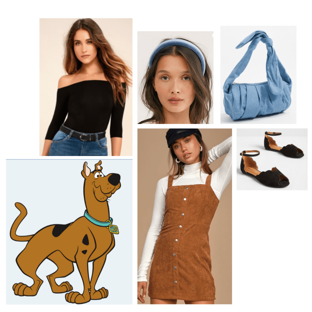 fashion outfit guide: scooby doo - black off-the-shoulders sweater, brown pinafore dress, blue headband