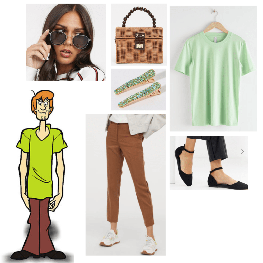 Scooby Doo fashion outfit guide: shaggy - green tee, brown trousers, black flats, retro sunglasses
