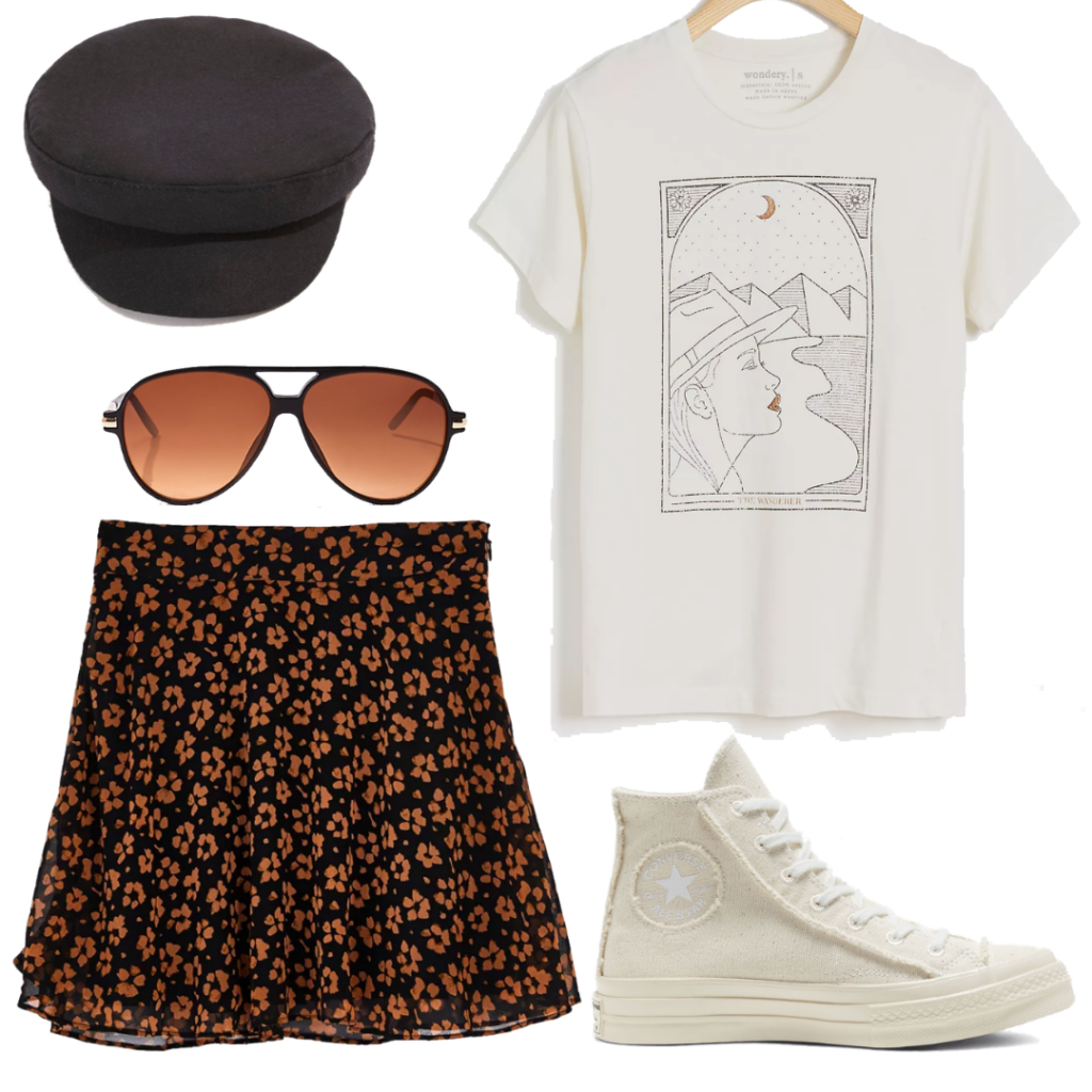 Summer outfits 2020: Outfit for running errands with white graphic tee, floral skirt, Converse sneakers, sunglasses