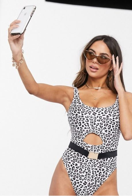 Leopard one-piece swimsuit.