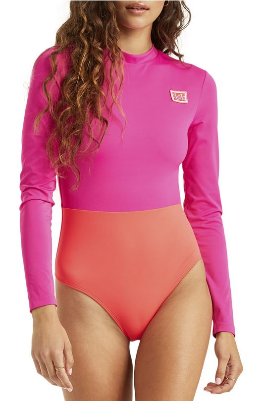 Long-sleeved pink and orange long-sleeved one-piece.