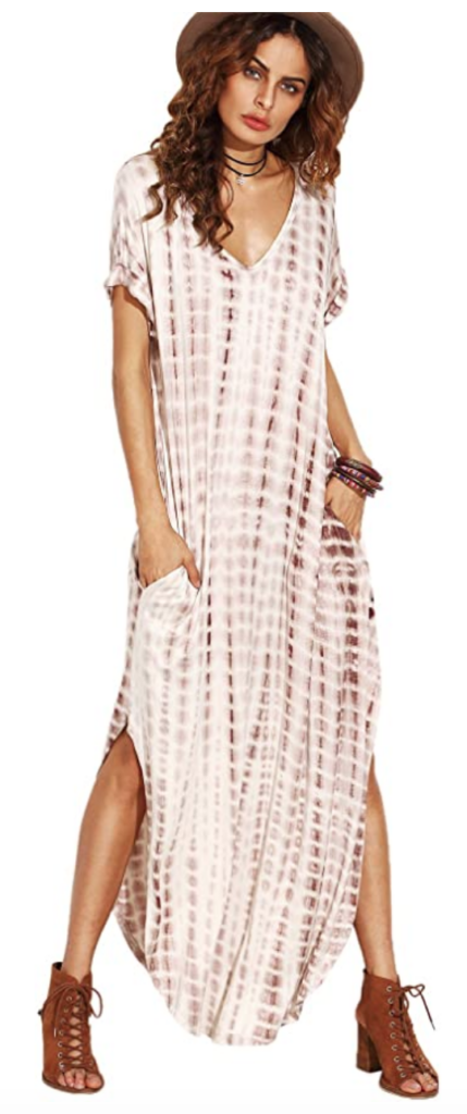 Brown and white tie-dye maxi dress from Amazon