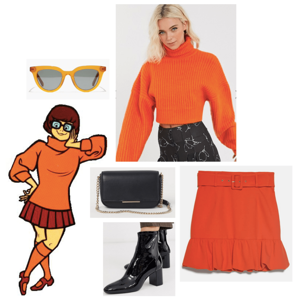 Scooby Doo fashion outfit guide: velma - orange turtleneck sweater, retro yellow sunglasses, orange miniskirt, black boots