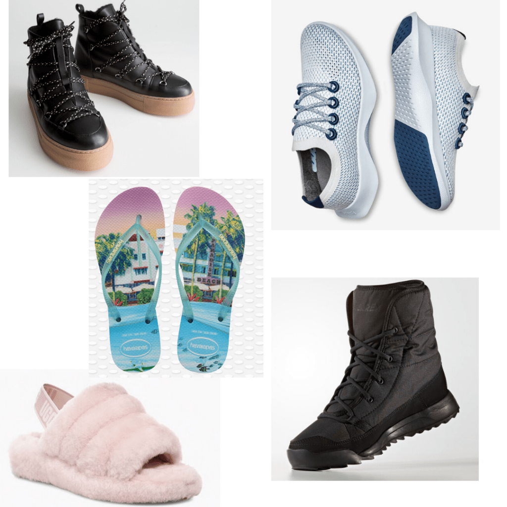Personality shoes - fuzzy slippers, chunky snow boots, Havaianas flip flops, lace up chunky heel boots, running shoes